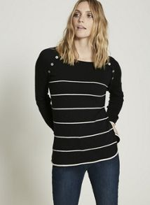 Mint Velvet Navy Striped Boxy Knit
