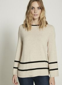 Mint Velvet Camel Swing Stripe Border Knit