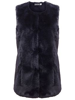 Navy Faux Fur Collarless Gilet