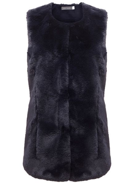 Mint Velvet Navy Faux Fur Collarless Gilet