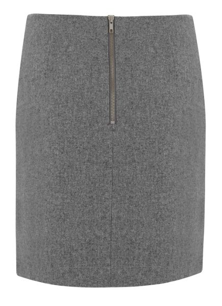 Mint Velvet Silver Grey Flannel Skirt