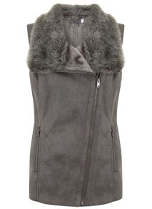 Mint Velvet Grey Faux Fur Biker Gilet