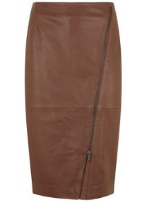 Mint Velvet Chestnut Leather Zip Pencil Skirt