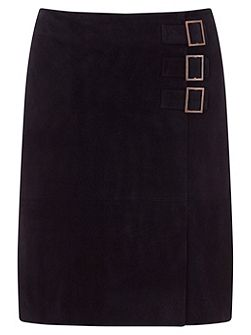 Navy Suede Buckle Detail Skirt