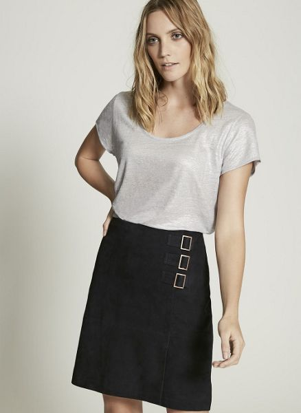 Mint Velvet Navy Suede Buckle Detail Skirt