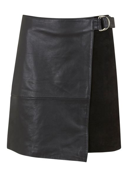 Mint Velvet Black Leather & Suede Wrap Skirt