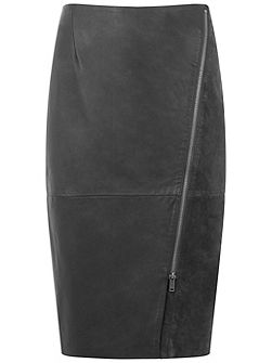 Smoke Leather Diagonal Zip Pencil Skirt