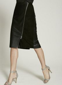 Mint Velvet Black Leather Diagonal Zip Pencil Skirt
