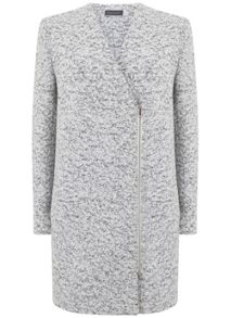 Mint Velvet Winter White Textured Zip Coat