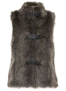 Mint Velvet Charcoal Faux Fur Buckle Gilet