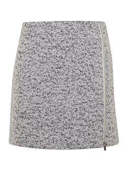 Winter White Textured Zip Skirt