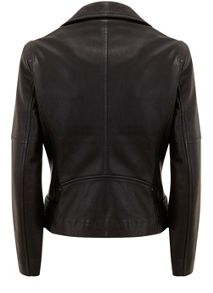 Mint Velvet Black Leather Biker Jacket
