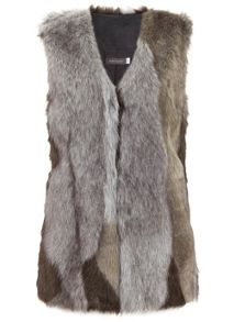Mint Velvet Grey Patchwork Faux Fur Gilet