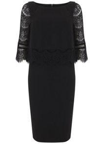 Mint Velvet Black Lace Layered Dress