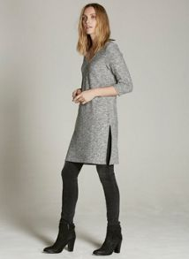 Mint Velvet Grey Marl Longline V-Neck Tunic