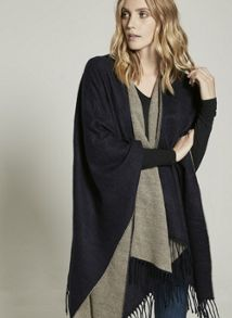 Mint Velvet Navy & Oatmeal Blanket Cape