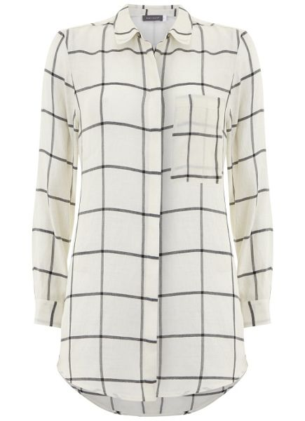 Mint Velvet Ivory & Black Check Pocket Shirt