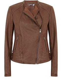 Chestnut Leather Bomber Jacket