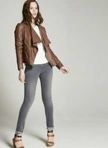 Mint Velvet Chestnut Leather Bomber Jacket