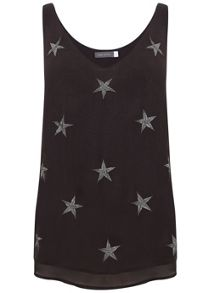 Mint Velvet Charcoal Star Embroidered Cami