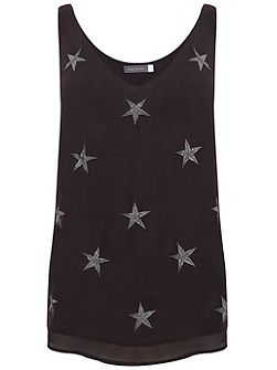 Charcoal Star Embroidered Cami