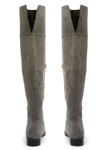 Mint Velvet Grey Ana Suede Over The Knee Boot