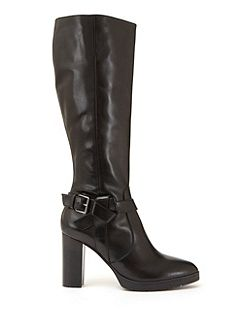 Black Cally Leather Knot Detail Long Boot