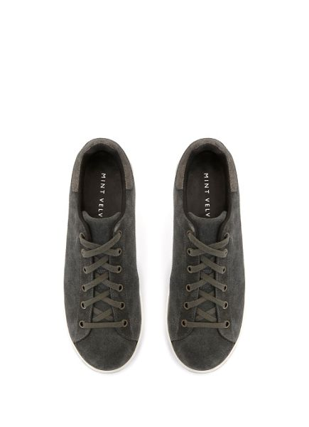 Mint Velvet Charcoal Lydia Suede Trainer