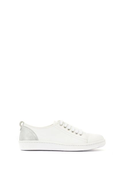Mint Velvet White Zoe Metallic Detail Trainer