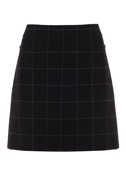Mint Velvet Navy & Grey Check Skirt