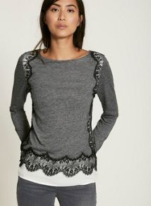 Mint Velvet Grey Marl Lace Edge Jersey