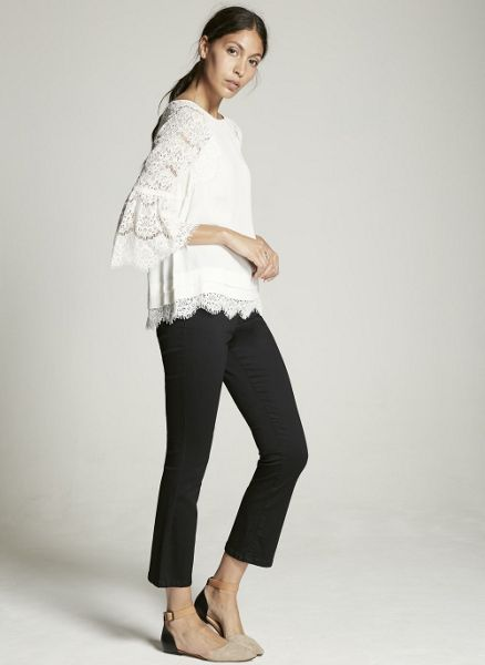 Mint Velvet Ivory Lace Bell Sleeve Top