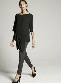 Mint Velvet Black Assymetric Ruffle Tunic