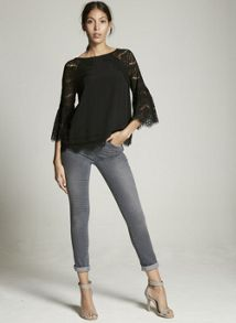 Mint Velvet Black Lace Sleeve Top
