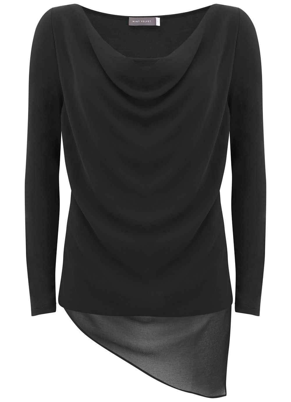 Mint Velvet Black Asymmetric Double Layer Tee, Black