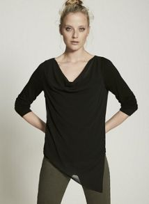 Mint Velvet Black Asymmetric Double Layer Tee