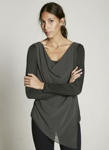Mint Velvet Khaki Asymmetric Double Layer Tee