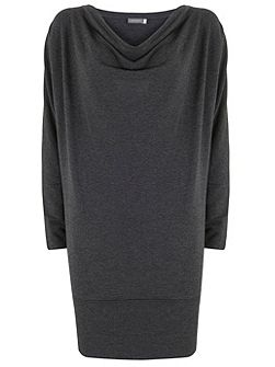 Charcoal Batwing Cowl Neck Dress