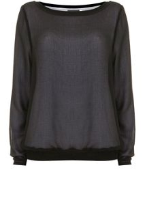 Mint Velvet Black Chiffon Sweat
