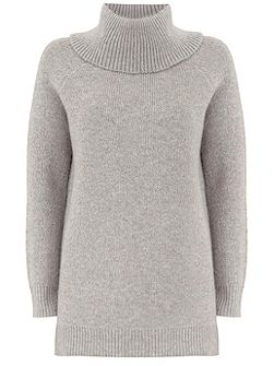 Silver Grey Lurex Detail Chunky Knit