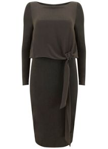 Mint Velvet Khaki Woven Tie Layer Dress