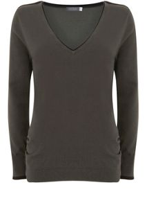 Mint Velvet Khaki V-Neck Knit