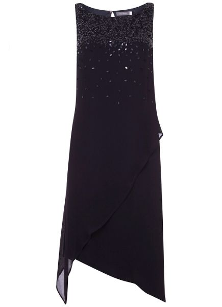 Mint Velvet Navy Sequin Asymmetric Dress