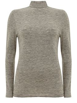 Silver Grey Marl Jersey Polo Neck