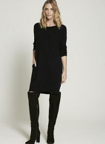 Mint Velvet Navy Slouchy Knitted Dress