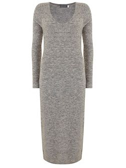 Mid Grey V-Neck Knitted Midi Dress