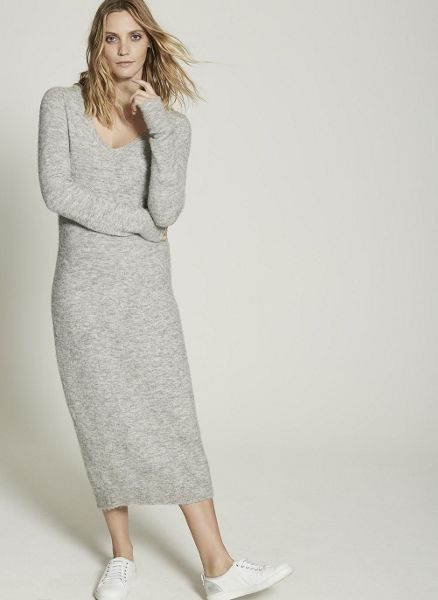 Mint Velvet Mid Grey V-Neck Knitted Midi Dress