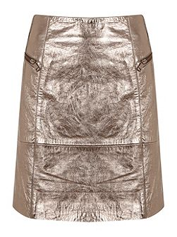Metallic Leather Zip Skirt