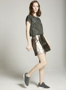 Mint Velvet Metallic Leather Zip Skirt