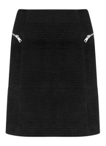 Mint Velvet Black Suede Embossed Croc Skirt